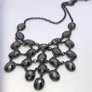 Charming Charlie Jewelry - Iced Black Silver Shining Statement Necklace